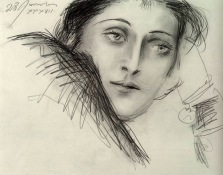 Portrait of Dora Maar, by Pablo Picasso, charcoal on paper 1937.