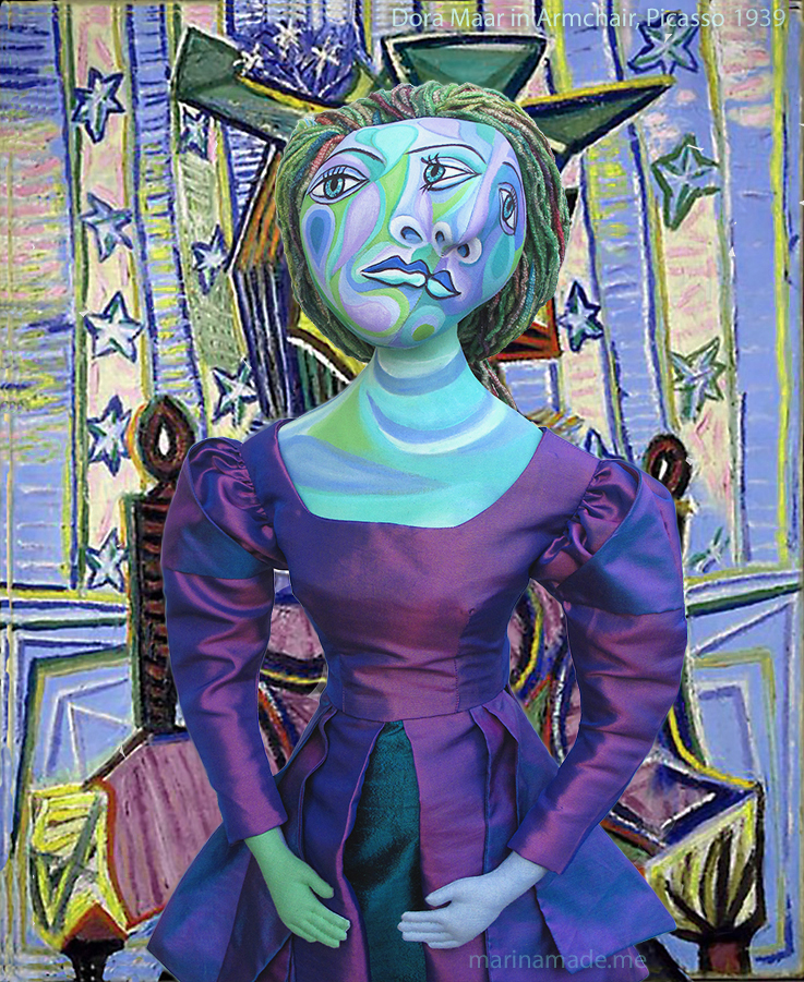 Dora Maar muse, designed and sculpted in textiles by artist, Marina Elphick. Dora Maar, Surrealist Photographer and painter in her own right was muse and lover of Picasso.