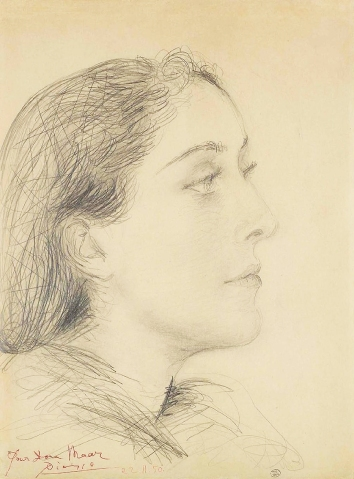 Pencil drawing of Dora Maar ,by Picasso, 1950.