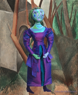 "Dora Maar muse set in Picasso's painting, "" La Rue des Bois"", 1908. Dora Maar muse, designed and sculpted in textiles by artist, Marina Elphick. Picasso's paintings.Dora Maar, Picasso's muse and lover, Dora Maar was a renowned Surrealist photographer and artist herself."