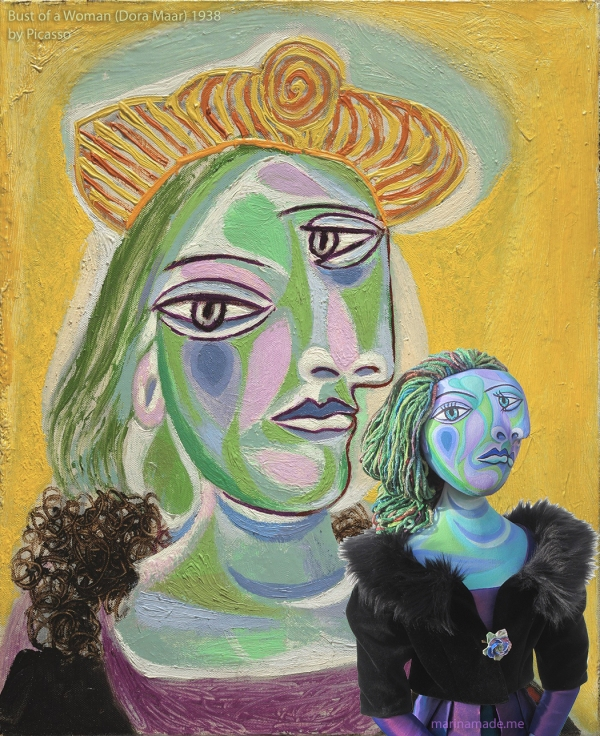 "Muse, Dora Maar with the painting that inspired her, ""Bust of a Woman "", 1938, by Pablo Picasso. Dora Maar muse, designed and sculpted in textiles by artist, Marina Elphick. Picasso's model and muse"