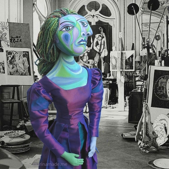 Muse, Dora Maar in Picasso's studio, photograph by André Villers. Dora Maar muse, designed and sculpted in textiles by artist, Marina Elphick.Dora Maar, muse and lover of Picasso.