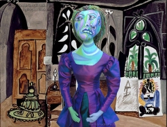 "Muse Dora Maar in Picasso's ""Studio in California"", painted in 1956. Dora Maar muse, designed and sculpted in textiles by artist, Marina Elphick. Dora Maar, Picasso's muse and lover, was a talented photographer and artist herself."