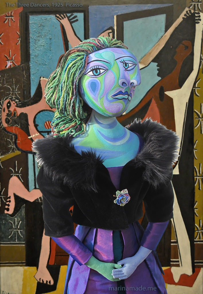 "Dora Maar muse with ""The Three Dancers,"" by Pablo Picasso, 1925. Dora Maar muse, designed and sculpted in textiles by artist, Marina Elphick. Dora Maar, muse and lover of Picasso."