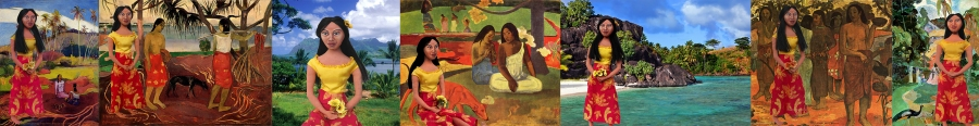 Gauguin's muse and Tahitian wife Teha'mana, is re-interpreted in soft sculpted form by Marina Elphick. Unique handmade Art muses, original art works by Marina Elphick UK