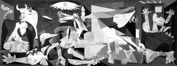 Picasso's Guernica was painted as an immediate reaction to the Nazi's devastating test bombing of the Basque town of Guernica during Spanish Civil War,1937.