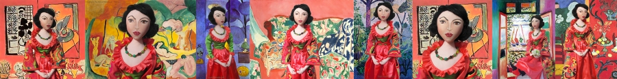 Matisse Muse made by Marina Elphick in cottons and silks. Marina sculpts her muses in textiles, each one individually inspired and made by hand.