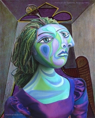 "Dora muse with ""Portrait de Femme"",1942, Picasso. Dora Maar muse, designed and sculpted in textiles by artist, Marina Elphick. Dora Maar, Picasso's muse and lover, was a talented photographer and artist herself."
