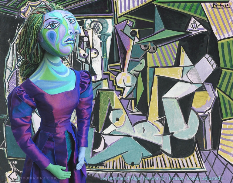 "Dora Maar muse with ""Les Femmes d' Alger"", by Picasso 1955; colour adjusted by Marina. Dora Maar muse, designed and sculpted in textiles by artist, Marina Elphick. Dora Maar, Picasso's muse and lover, was a renowned Surrealist photographer and artist herself."