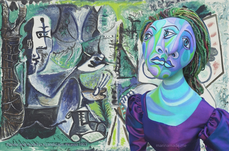 """Painter and his model in a Landscape,"" 1953 by Picasso, with Dora Maar muse facing outward. Dora Maar muse, designed and sculpted in textiles by artist, Marina Elphick. Dora Maar, Picasso's muse and lover, was a talented photographer and artist herself."