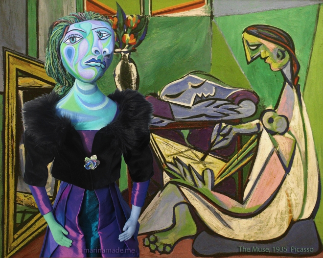 Dora and 'The Muse', 1935 Picasso. Dora Maar muse, designed and sculpted in textiles by artist, Marina Elphick, inspired by the paintings of Picasso. Dora Maar, Picasso's muse and lover, was a talented photographer and artist herself.