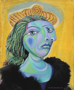 Dora Maar muse, designed and sculpted in textiles by artist, Marina Elphick, inspired by the paintings of Picasso.Dora Maar, muse and lover of Picasso.