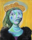 Dora Maar muse, designed and sculpted in textiles by artist, Marina Elphick, inspired by the paintings of Picasso. Dora Maar, Picasso's muse and lover, was a talented photographer and artist herself.