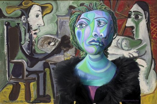 Dora muse, The artist with his model by Picasso, 1963. Dora Maar muse, designed and sculpted in textiles by artist, Marina Elphick, inspired by the paintings of Picasso.Dora Maar, Picasso's muse and lover, was a talented photographer and artist herself.