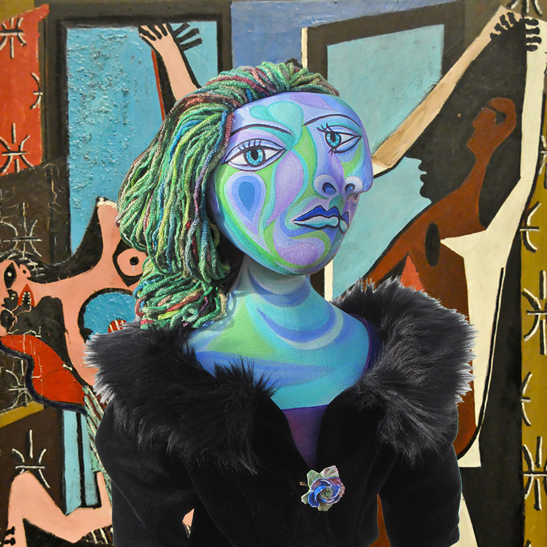 "Dora Maar muse with ""The Three Dancers,"" by Pablo Picasso, 1925. Dora Maar muse, designed and sculpted in textiles by artist, Marina Elphick. Dora Maar, one of six of Picasso's muses and lovers, Dora Maar was a renowned Surrealist photographer and artist herself."