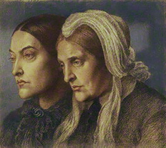 Christina Rossetti and Frances Mary Lavinia Rossetti by Dante Gabriel Rossetti, chalk, 1877