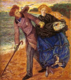 """Writing on the Sand"", 1859 by Dante Gabriel Rossetti portrays himself and Lizzie on the beach at Hastings."