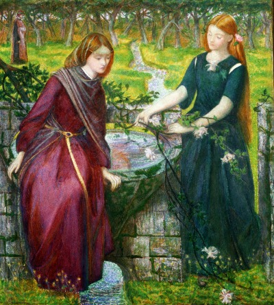 Dante's Vision of Rachel and Leah, Rossetti 1855. Lizzie is seen on the left as Rachel.