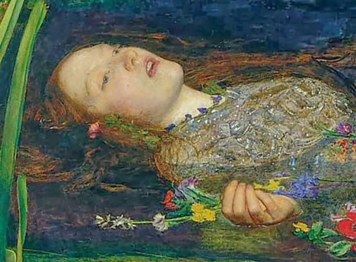 "Detail of Lizzie from Millais' painting, ""Ophelia""."