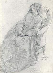 Elizabeth Siddal in Weymouth, drawn by Dante Gabriel Rossetti, 1856.
