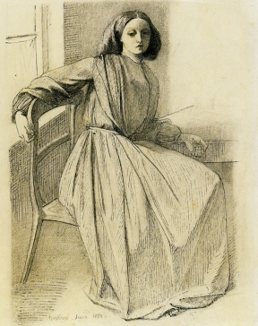 Elizabeth Siddal, seated at window, Hastings, by Rossetti 1859.