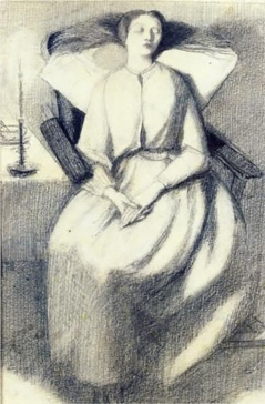 Drawing of Elizabeth Siddal Seated in a Chair by Dante Gabriel Rossetti, 1860.