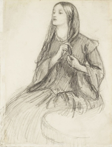 Elizabeth Siddal Plaiting her hair, drawing by Rossetti.