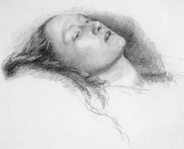Study For Ophelia, pencil, John Everett Millais. Marina's Muses