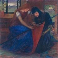 Lady Affixing Pennant to a Knight's Spear c.1856 by Elizabeth Siddal .