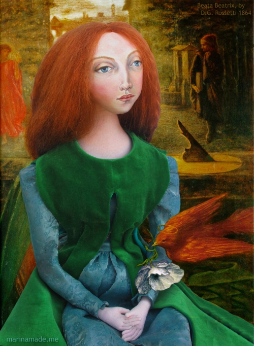 Lizzie muse as Beata Beatrix, poet Dante Alighieri's tragic heroine. Pre- Raphaelite Muse of Lizzie designed and sculpted in textiles by artist, Marina Elphick.