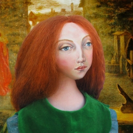 Lizzie Siddal muse as Beata-Beatrix, based on Rossetti's famous painting of Elizabeth Siddal. The painting was completed after her death. Muse, designed and sculpted in textiles by artist, Marina Elphick.