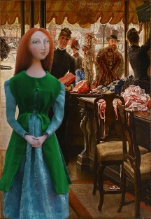 Lizzie, imagined in the milliner's shop where she worked. Muse of Lizzie designed and sculpted in textiles by artist, Marina Elphick.