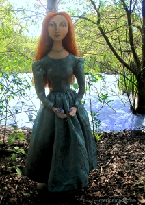 Ophelia imagined in her last moments alive before entering the water. Lizzie muse designed and sculpted in textiles by artist, Marina Elphick.