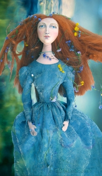 Lizzie muse as Ophelia. Lizzie muse designed and sculpted in textiles by artist, Marina Elphick.