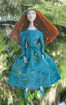 Lizzie muse as Ophelia. Muse of Lizzie designed and sculpted in textiles by artist, Marina Elphick.