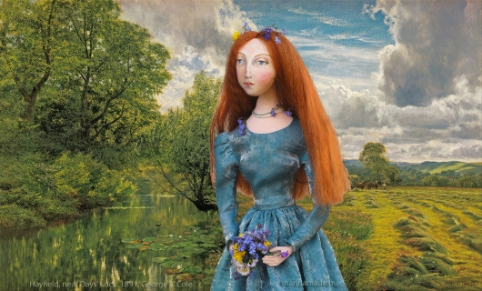 Lizzie muse as Ophelia, on her walk to the river. Muse of Lizzie designed and sculpted in textiles by artist, Marina Elphick.
