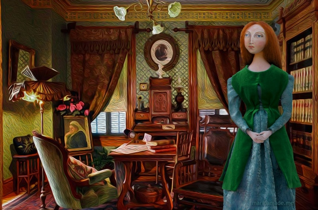 Lizzie in an imagined setting at her home. Muse of Lizzie by Marina. of Lizzie designed and sculpted in textiles by artist, Marina Elphick.