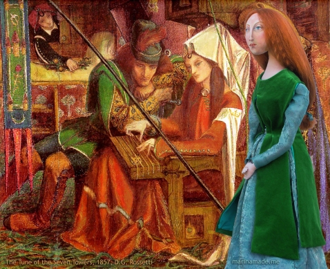 Lizzie in Rossetti's, 'The Tune of the Seven Towers' 1857. Pre- Raphaelite Muse of Lizzie designed and sculpted in textiles by artist, Marina Elphick.