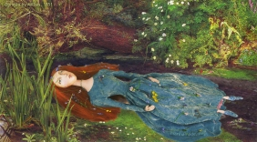 Muse of Lizzie Siddal as 'Ophelia', in the moments before her suicide by drowning. Lizzie muse designed and sculpted in textiles by artist, Marina Elphick, of marinamade.me