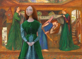 Lizzie muse in Dante's Dream at the Time of the Death of Beatrice, 1856. Muse of Lizzie designed and sculpted in textiles by artist, Marina Elphick.