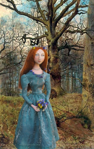 """Lizzie muse in """"The Spring Wood"""", by John Collier. Muse of Lizzie designed and sculpted in textiles by artist, Marina Elphick."""