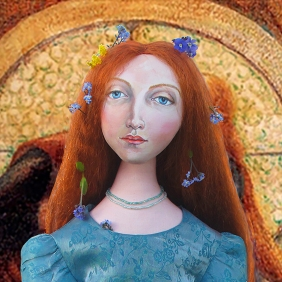 Lizzie Siddal muse, dressed as Ophelia, designed and sculpted in textiles by artist, Marina Elphick. Pre-Raphaelite muse and artist, Lizzie modelled for Rossetti and Millais.