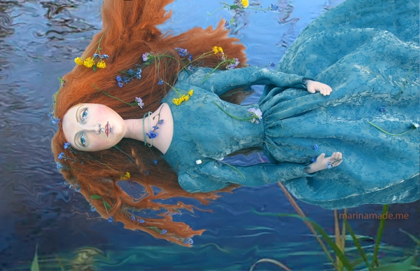 Imaginary depiction of Ophelia's drowning, Marina's muse of Lizzie Siddal. Pre- Raphaelite Muse, Lizzie as muse designed and sculpted in textiles by artist, Marina Elphick.