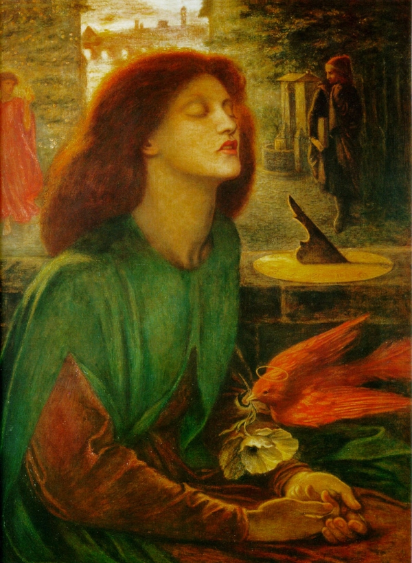 Elizabeth Siddal as Beata Beatrix, poet Dante Alighieri's tragic heroine. Rossetti identified with Dante, so it was natural for him to express his grief over Lizzie's death by portraying her as Beatrice. Marina's muses.