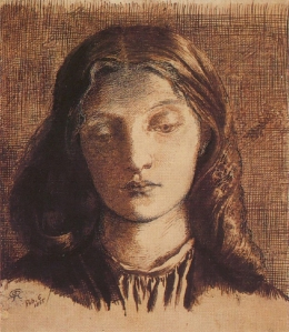 Lizzie Siddal, pen and ink, by Rossetti, 1855