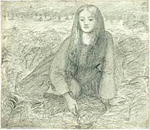 Lizzie in grass, sketch by Rossetti, unknown date.