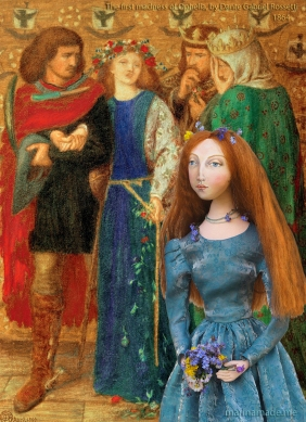 Lizzie with 'The first madness of Ophelia' by Dante Gabriel Rossetti, 1864. Lizzie muse designed and sculpted in textiles by artist, Marina Elphick.