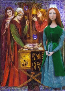 Pre- Raphaelite Muse, Lizzie with the Ladies of The Blue Closet, Rossetti 1856. Lizzie muse designed and sculpted in textiles by artist, Marina Elphick.
