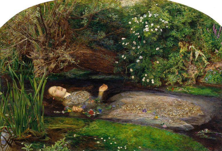 "Millais' painting, ""Ophelia"" 1851, modelled by the 19 year old Lizzie Siddal."