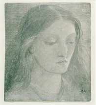 Pencil drawing of Lizzie Siddal by Rossetti 1860.